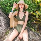 歐美風 T字露背 自然胸型 素雅 特色露腰 兩件式泳裝 舒適無鋼圈 比基尼 泳衣