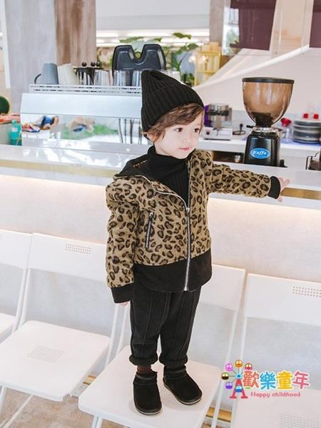 男童豹紋外套潮1-3歲兒童夾克寶寶韓版5連帽加絨男寶寶秋冬加厚2