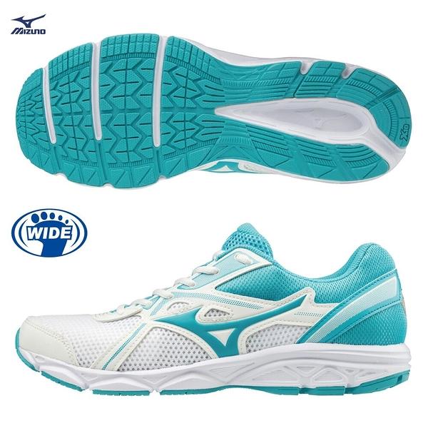 MIZUNO MAXIMIZER 22 女鞋 慢跑 健走 3E寬楦 避震 耐磨 白 湖水藍【運動世界】K1GA200125