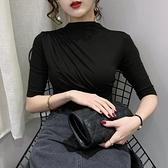 半高領打底衫內搭五分袖洋氣莫代爾t恤女短袖潮-Ballet朵朵
