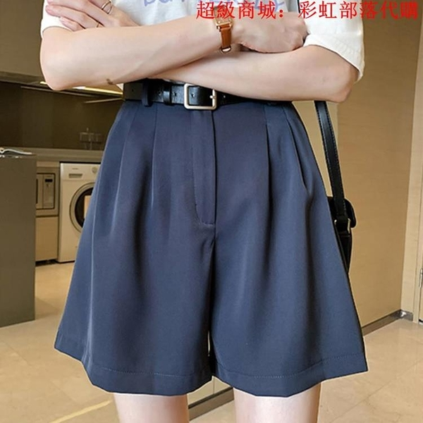 夏裝新款西裝褲薄款闊腿短褲女胖mm大碼寬松顯瘦a字高腰熱褲200斤 中大碼女裝 大尺碼女裝