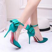 高跟鞋 - 超高跟10CM細跟尖頭中空女一字扣蝴蝶結綢緞單鞋涼鞋【韓衣舍】
