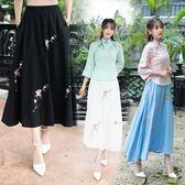 洋裝  夏裝新款女裝民族風復古文藝鬆緊腰刺繡花棉麻半身裙