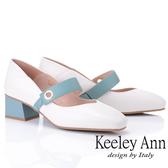 ★2019春夏★Keeley Ann慵懶盛夏 撞色扣帶方頭中粗跟瑪莉珍鞋(米白色)-Ann系列