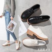 牛津系帶小皮鞋 女英倫風學院中跟粗跟2019新款單鞋女工作鞋女 BT13925【大尺碼女王】