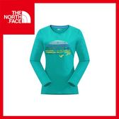 【The North Face 女 LOGO 長袖T恤《海島綠》】運動/旅行/露營