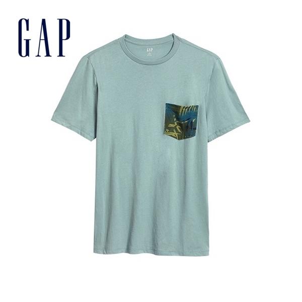 Gap男裝舒適透氣圓領短袖T恤586466-鼠尾草綠