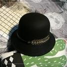 韓版英倫復古時尚毛呢帽子百搭秋冬加厚盆帽男女黑色爵士禮帽潮 艾瑞斯