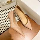 手工真皮女鞋34~39 2021新款歐美時尚優雅百搭牛羊皮尖頭高跟鞋 通勤鞋 OL工作鞋~2色