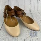 BRAND楓月 CHLOE蔻依 圓頭米色/焦糖色 平底鞋 涼鞋 雙圈 皮革 編織鞋 女鞋 芭蕾舞鞋