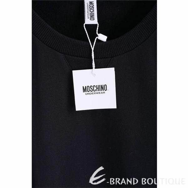 MOSCHINO 黑色品牌字母織帶棉質大學T 運動衫(男/女可穿) 1940285-01