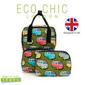 英國ECO CHIC時尚可折疊方形後背包-小巴綠