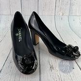 BRAND楓月 CHANEL 深藍綠 山茶花 圓頭 漆皮 高跟鞋 #35