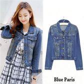 藍色巴黎  韓版 學院風修身牛仔長袖短版外套【28394】