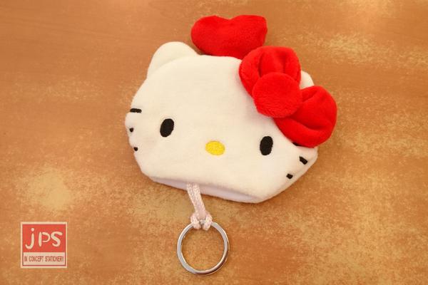 Hello Kitty 凱蒂貓 絨毛鑰匙套 鑰匙圈 鑰匙收納包 大臉 828086