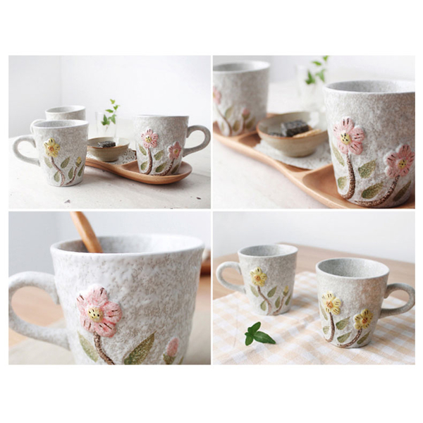 韓國ERATO手繪向日葵水杯茶杯早餐情侶牛奶杯創意浮雕盆栽馬克杯雙色任選