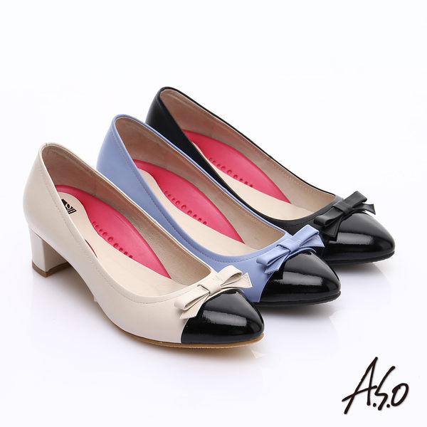 A.S.O 職場女力 鏡面真皮拼接復古粗跟中跟鞋  淺紫