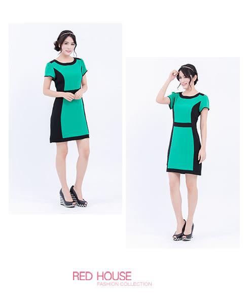 RED HOUSE-蕾赫斯-圓領雙色剪裁短袖洋裝(綠色)