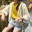 (全館一件免運)DE SHOP~(NU-469)復古刺繡七分袖白色雪紡衫女夏學生寬鬆短款防曬衣開衫外套