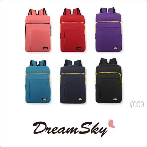 帆布 休閒 直拉鏈 後背包 潮流學院風 雙肩包 旅行包 書包 大容量 收納 多色 [009] DreamSky