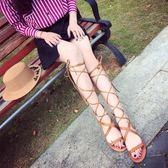 羅馬涼鞋女鞋新品新款交叉綁帶鏤空高筒涼靴繫帶平底鞋波西米亞風免運直出 交換禮物