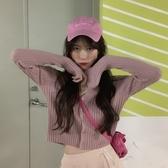 針織外套 早秋韓版修身V領純色坑條紋針織開衫女外搭顯瘦長袖短款毛衣外套