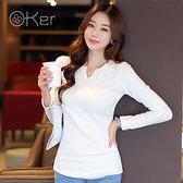 O-Ker 正韓休閒時尚純棉白色長袖V領上衣 VE7738-C