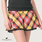 下擺蕾絲造型格紋褲【AE2212】