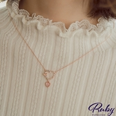 項鍊 韓國直送‧蛋白石水鑽雙心鎖骨項鍊-Ruby s 露比午茶