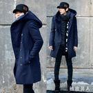 風衣外套男 秋冬季男裝中長款風衣韓版男士修身型連帽毛呢大衣呢子外套  ZJ2860【極致男人】
