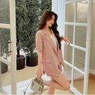 VK精品服飾 韓系素色雙邊釦西裝領寬口短褲套裝短袖褲裝