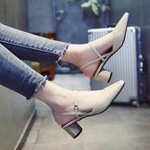 方頭涼鞋女春新款百搭韓版一字帶瑪麗珍鞋粗跟中跟奶奶鞋子潮 居享優品