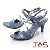 TAS異材質拼接繞帶高跟涼鞋-沉穩藍