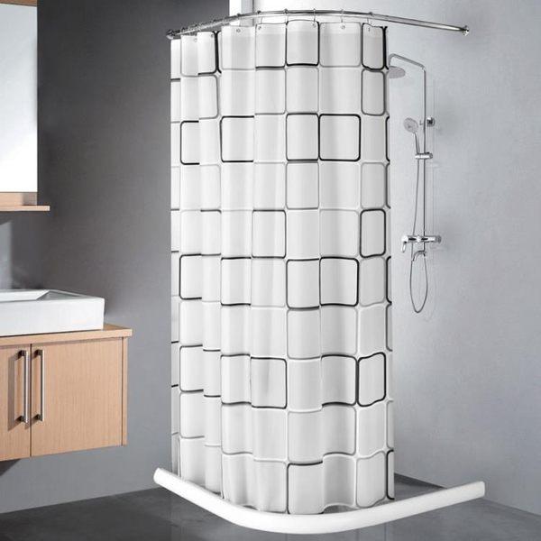 衛生間簡易淋浴房浴室弧形不銹鋼浴簾桿套裝 浴簾 擋水條MJBL