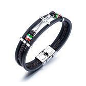 【5折超值價】時尚潮流多層編織十字造型男款鈦鋼手環