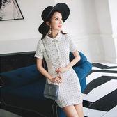 洋裝-短袖秋季小香風白色波點女連身裙73pu40【巴黎精品】