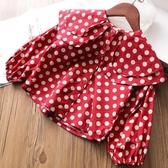女童荷葉領長袖襯衫春秋寶寶波點襯衣【奇趣小屋】