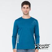 PolarStar 男 麻花吸排圓領長袖衣『藍綠』P19257 T恤 上衣 男版 休閒 戶外 登山 印花