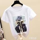 短袖t恤女2020新款純棉寬鬆白色體恤韓版夏季女裝洋氣半袖上衣『艾麗花園』