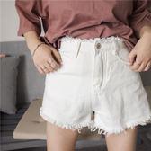 顯瘦高腰毛邊闊腿短褲-黑白2色