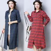 【韓國KW】(預購)L~2XL 民族風復古格紋長版襯衫洋裝