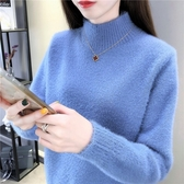 2019秋冬新款水貂絨高領毛衣女士寬鬆內搭加厚時尚套頭打底針織衫