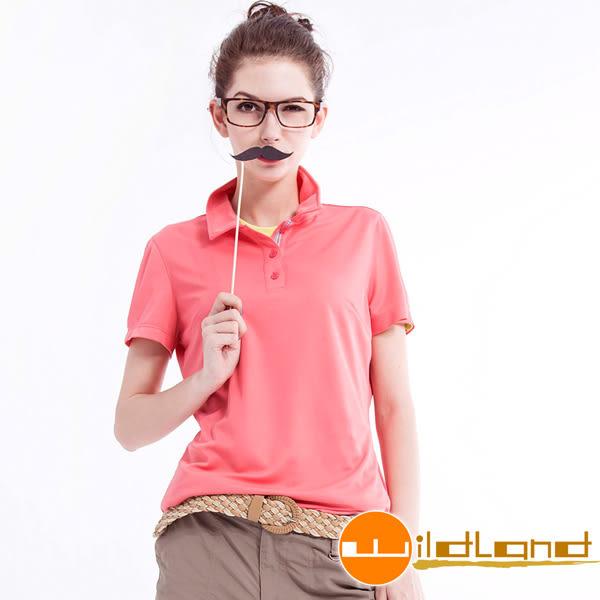 Wildland 荒野 W1621-78粉橘 女疏水纖維排汗衣Polo衫