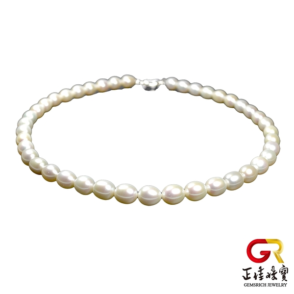 天然淡水珍珠 頂級米珠高光潤澤珍珠項鍊 9-10mm珍珠 頂級項鍊 925銀扣電鍍白K 正佳珠寶