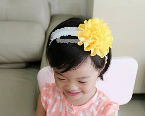 手工髮帶 氣質雪紡烤邊大花款兒童 寶寶 嬰兒 彈性髮帶 拍照 彌月 寫真  果漾妮妮【P3964】
