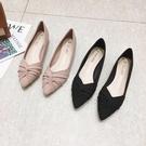 六月芬蘭尖頭磨砂質感扭結粗跟低跟鞋女鞋包鞋(35-41)現貨