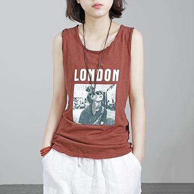 竹節棉背心女 印花無袖上衣 圓領外穿無袖T恤/4色-夢想家-0517