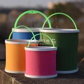 釣魚桶打水桶帶繩折疊多功能加厚魚護桶便攜小號活魚桶手提式漁具 歐韓流行館