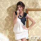 【AnZa】緞面斜領寬褶洋裝/小禮服