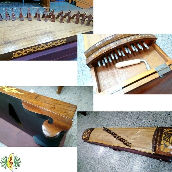 古箏 [網音樂城] 鋼弦 16弦箏 紅木 鏤空雕 蘭花 150cm Guzheng ( 附琴盒 教材 )( 福利品 )